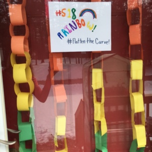 This is our rainbow on our front door for the 518 rainbow hunt during social distancing.